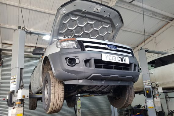 Ford With Bonnet Open Being Repaired by CCM Garages